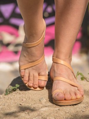 Sounio-flat-leather-greek-women-sandals-from-ballsai