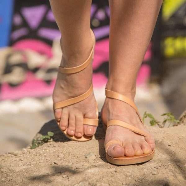 Sounio-flat-leather-greek-women-sandals-from-ballsai