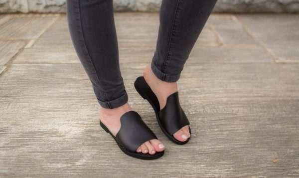 Anavyssos-ballsai-black-leather-sandals-wome-handmade-sandals-slingbacks-greece