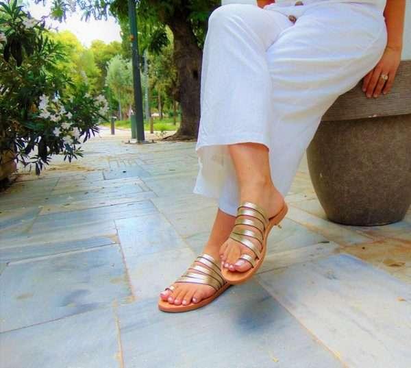 Ballsai handmade sandals gold greek strappy