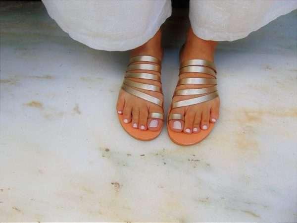Ballsai handmade sandals gold greek strappy leather