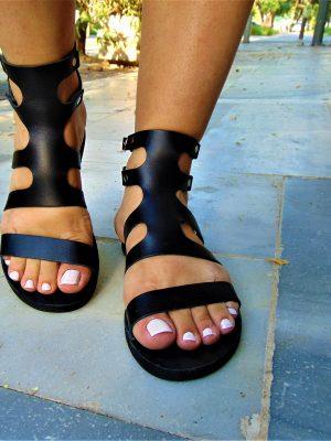 fedra-handmade-greek-women-leather-black-lace up-sandals-ballsai