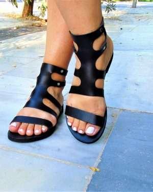 Fedra-women-leather-handmade-black-lace up-sandals-ballsai