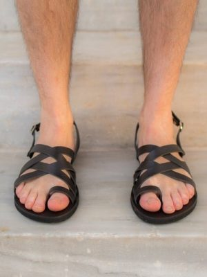 Aristofanis-ballsai-sandals-black-leather-men