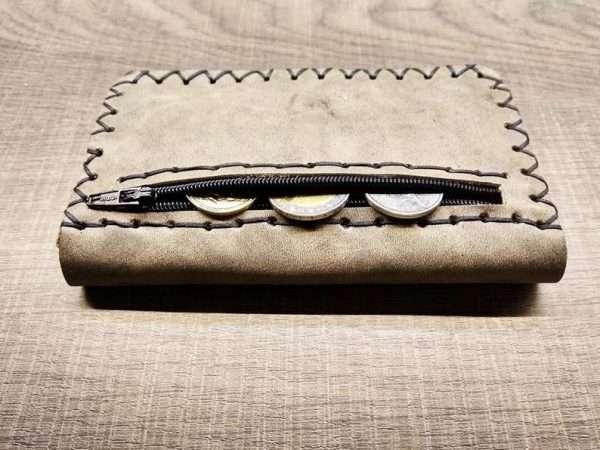 Leather wallet zipper ballsa greece athens leather handmade men women money card