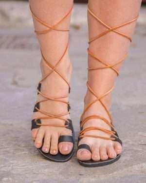 Sousanna-gladiator-lace up-handmade-women-leather-sandals