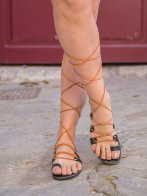 Sousanna-gladiator-lace up-handmade-women-leather-sandals