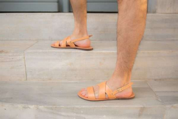 Handmade Leather Sandals for Men.They are made by leather and the sole is made by antislippery rubber.