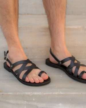 Aristofanis-ballsai-sandals-black-leather-men