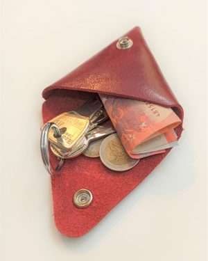 Leather Triangle Purse, Leather Wallet, Leather coin pouch, Handmade leather purse