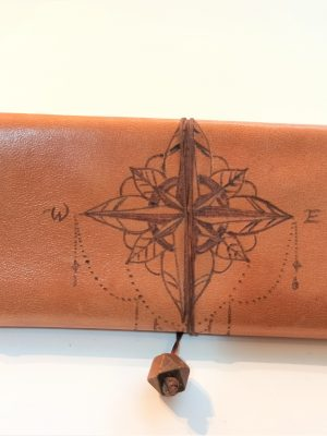 Compass Leather Pouch, Handmade Leather Tobacco Pouch, Leather Tobacco Case