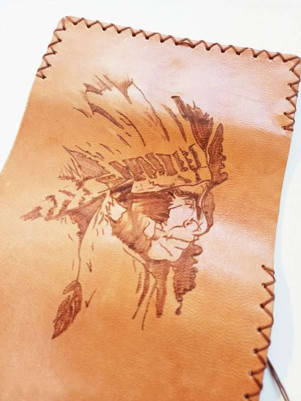 Leather Tobacco Pouch, Indian Pyrography