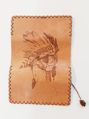 Leather Smoke Pouch, Indian Pyrography
