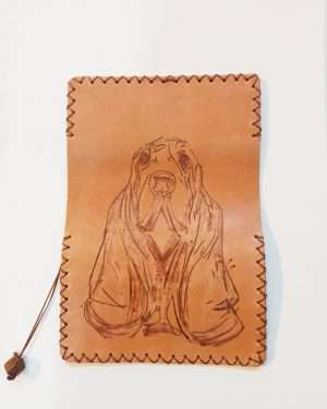 Leather Tobacco Wallet, Leather Tobacco pouch, Pyrography Dog, Handmade Leather Tobacco Pouch