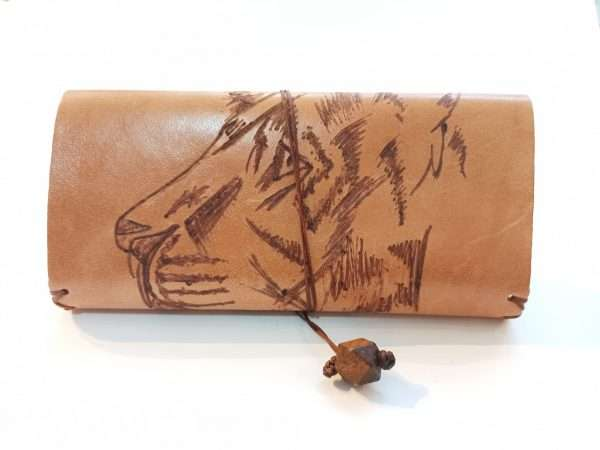 Leather Tobacco Pouch, Lion Pyrography