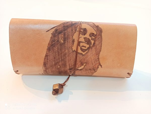 Handmade Leather Tobacco Pouch Bob Marley, Leather Tobacco Case, Leather Rolling Pouch