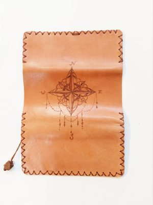Compass Leather Rolling Pouch, Handmade Leather Tobacco Pouch, Leather Tobacco Case