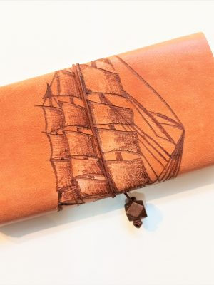 Leather Tobacco Pouch Pirate Ship, Leather Tobacco Case, Handmade Tobacco Pouch, Rolling Cigarettes Pouch