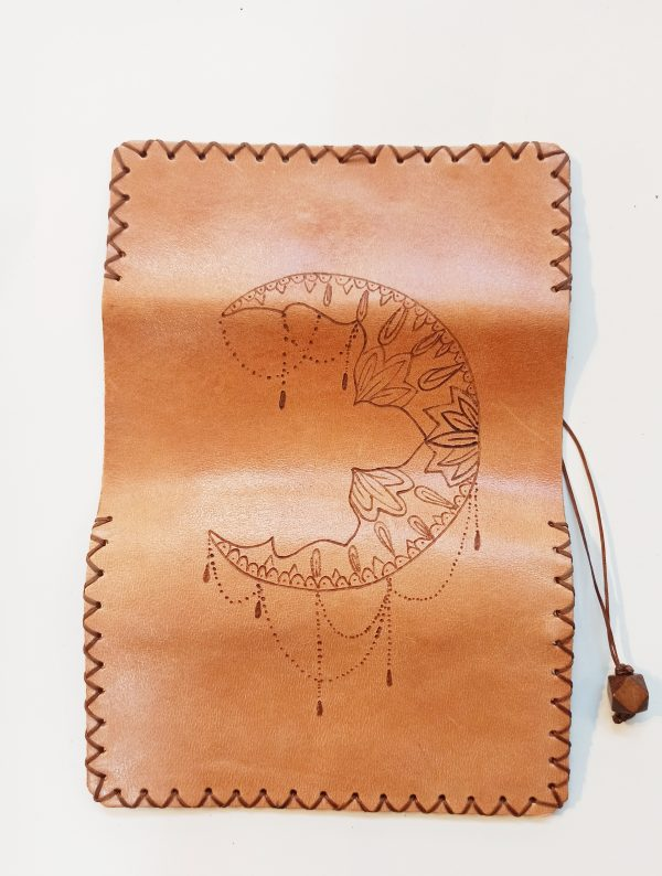 Crescent moon, Leather Tobacco pouch, Handmade Leather Tobacco Pouch, Leather Rolling Pouch