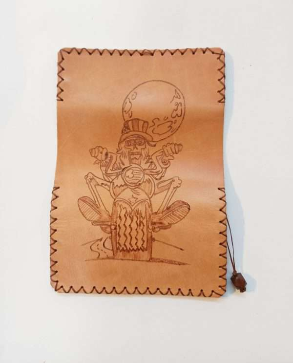 Handmade Leather Pouch, Pyrography Chopper, Leather Tobacco Pouch, Leather Rolling Pouc