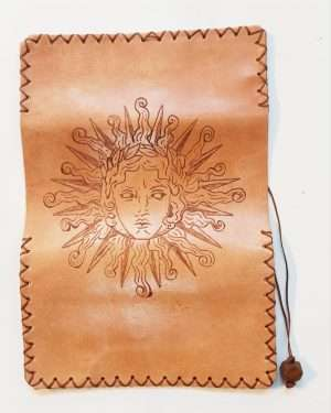Leather Tobacco Pouch Sun Face, Handmade Leather Rolling Pouch, Leather Tobacco Wallet