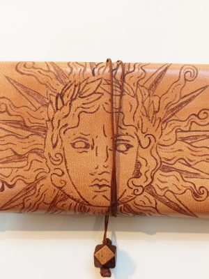 Leather Tobacco Pouch Sun Face, Handmade Leather Tobacco Case, Leather Rolling Pouch