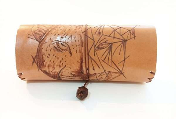 Tobacco Pouch, Leather Tobacco Pouch with Pyrography Tiger, Handmade Leather Tobacco Pouch