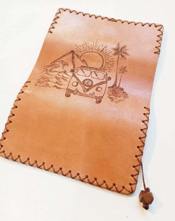 Leather Tobacco Pouch, Handmade Leather Tobacco Case, Tobacco pouch with pyrography, Pyrography on Leather, Leather Tobacco Pouch Pyropgraphy Volswagen Van