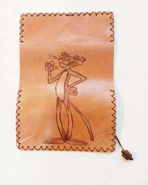 Pink Panther Pyrography Pouch, Leather Tobacco Pouch,Handmade Leather Tobacco Case, Rolling Pouch