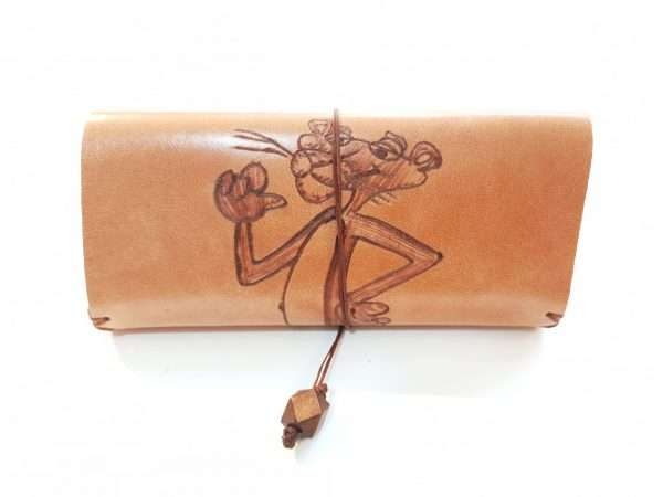 Leather Tobacco Case, Pyrography Pink Pather, Handmade Leather Tobacco Pouch