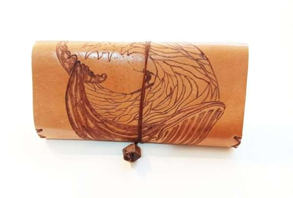 Leather Rolling Pouch, Surfing Pyrografy on leather tobacco pouch, Handmade Leather Tobacco Case