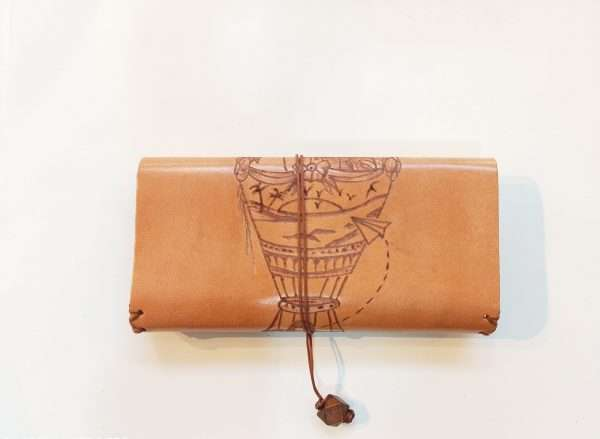 Tobacco Pouch with Pyrography on Leather, Suitcase Pyrography, Handmade Leathr Tobacco Case, Leather Rolling Pouch