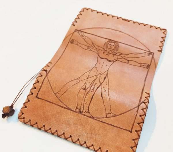Leather Tobacco Pouch, Handmade Leather Pouch, Pyrografy Tobacco Pouch