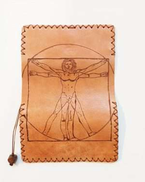 Leather Tobacco Pouch Pyrography art, Handmade Leather Pouch, Pyrografy Tobacco Pouch