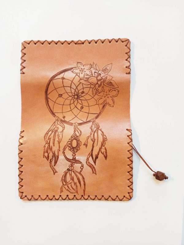 Dream Catcher, Leather Tobacco Pouch, Handmade Leather Pouch, Pyrografy Tobacco Pouch