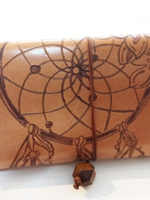 Dream Catcher, Pyrografy Tobacco Pouch, Handmade Leather Tobacco Pouch