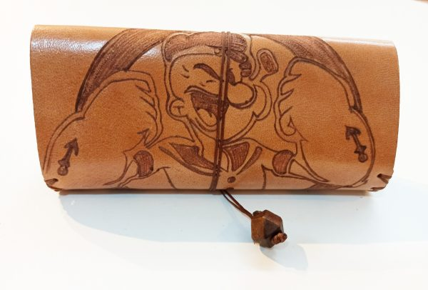 Popeye, Leather Tobacco Pouch, Rolling Cigarettes Case, Leather Tobacco Caqse, Handmade Tobacco Case