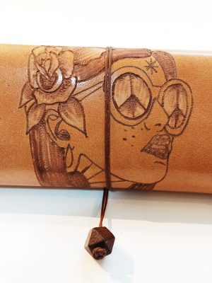 Leather Tobacco Case Oldschool Woman, Handmade Leather Pouch with Pyrography, Leather Tobacco Pouch, Rolling Pouch
