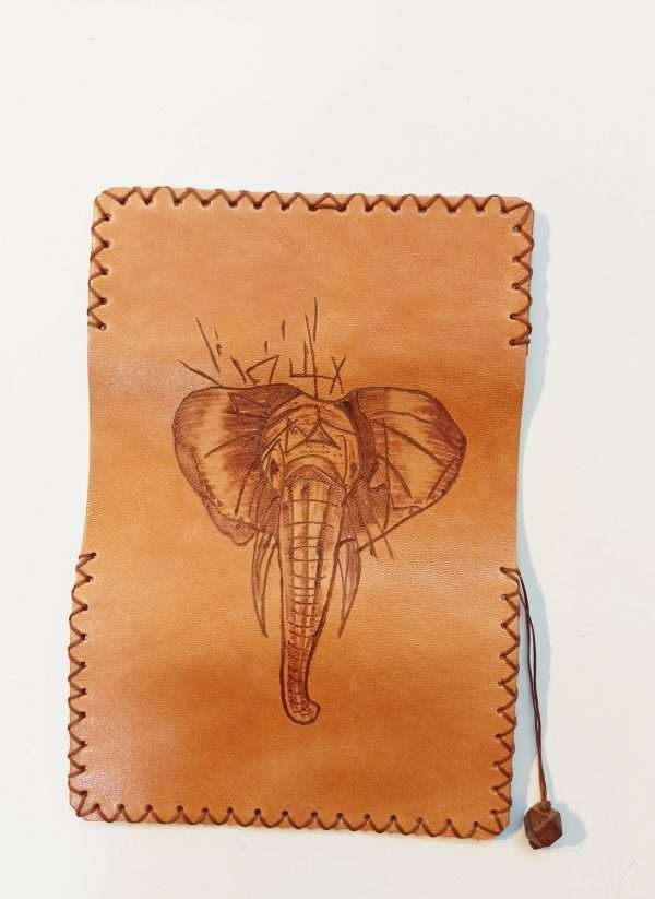 Elephant Pyrography, Leather Tobacco Pouch, Rolling Cigarettes Case, Handmade Leather Tobacco Case