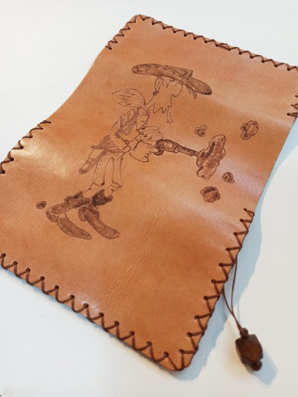 Lucky Luke, Leather Tobacco Pouch, Rolling Cigarettes Case, Handmade Tobacco Pouch, Pyrography Leather