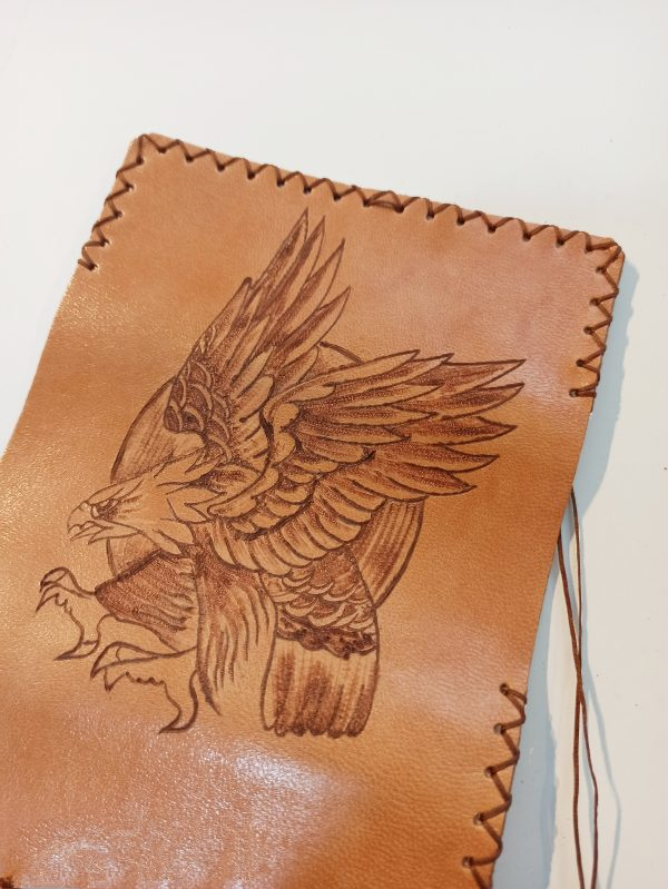Eagle, Leather Tobacco Pouch, Rolling Cigarettes Case, Handmade Leather Tobacco Case