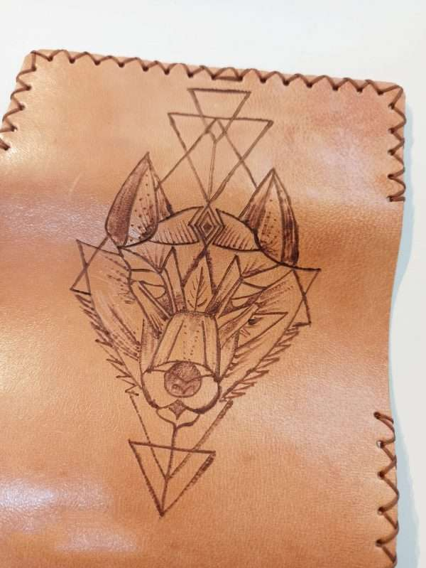 Wolf, Leather Tobacco Pouch, Rolling Cigarettes Case, Handmade Leather Tobacco Case
