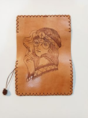 Hippie Woman, Leather Tobacco Pouch, Rolling Cigarettes Case, Handmade Tobacco Pouch, Pyrography Leather