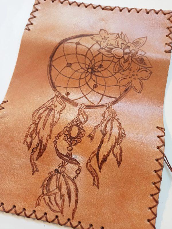 Dream Catcher, Pyrografy Tobacco Pouch, Handmade Leather Tobacco Pouch