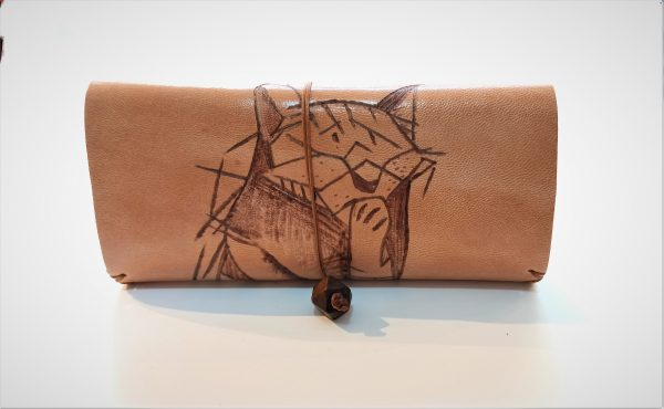 Handmade Tobacco Pouch Cat, Leather Tobacco Pouch, Leather Rolling Pouch