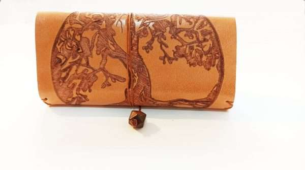 Leather Tobacco Pouch Tree of life, Handmade Leather Rolling Pouch, Tobacco Pouch with Pyrography