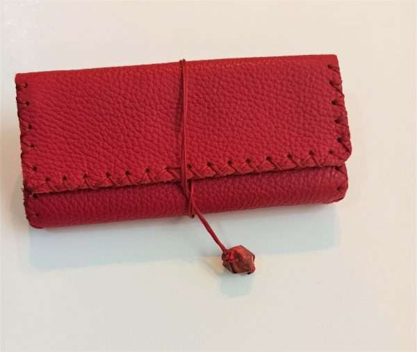 Red Leather Tobacco Pouch, Handmade Leather Tobacco Case, Leather Tobacco Wallet